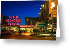 Pike Place Market Greeting Card by Inge Johnsson