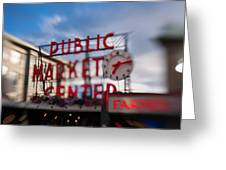 Pike Place Public Market Neon Sign Greeting Card