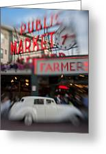 Pike Place Publice Market Neon Sign And Limo Greeting Card