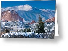 Pikes Peak In Winter Greeting Card