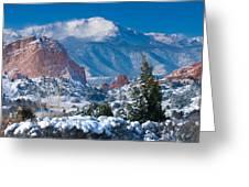Pikes Peak In Winter Greeting Card by John Hoffman