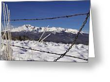Pikes Peak Through The Fence Greeting Card