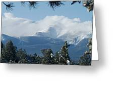 Pikes Peak Under The Clouds Greeting Card