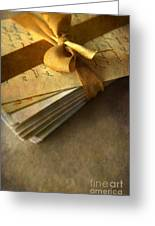 Pile Of Letters With Golden Ribbon Greeting Card