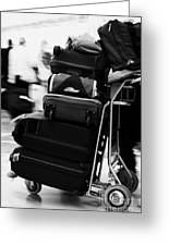 pile of luggage on trolley being pushed out of Reina Sofia Sur TFS South Airport Tenerife Canary Islands Spain Greeting Card