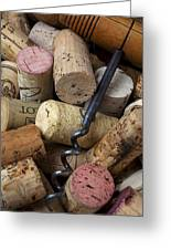 Pile Of Wine Corks With Corkscrew Greeting Card