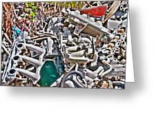 Piles Of Engines - Automotive Recycling Greeting Card by Crystal Harman
