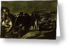 Pilgrimage To San Isidros Fountain, C.18213 Oil On Canvas Greeting Card