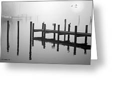 Pilings In The Fog Greeting Card