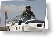 Pilot Standing In  A Socata Tb-30 Greeting Card