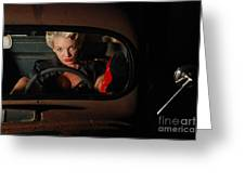 Pin Up Girl In A Classic Rat Rod Car Greeting Card