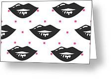 Pin Up Girl Style Wet Black Lipstick Greeting Card