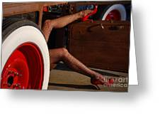Pin Up Legs In Red Heels  Greeting Card