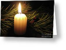Pine Bough And Candle Greeting Card