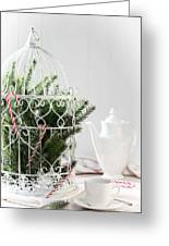 Pine Branches Birdcage Greeting Card