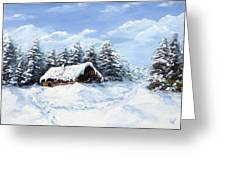 Pine Forest In Winter Greeting Card