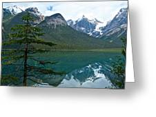 Pine Over Emerald Lake Reflection In Yoho National Park-british Columbia-canada Greeting Card