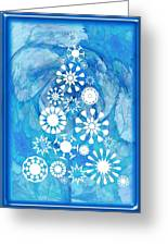 Pine Tree Snowflakes - Baby Blue Greeting Card