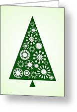 Pine Tree Snowflakes - Green Greeting Card
