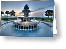 Pineapple Fountain At Waterfront Park Greeting Card