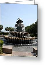 Pineapple Fountain Charleston River Park Greeting Card