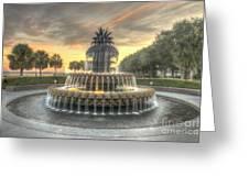 Pineapple Fountain Sunset Greeting Card