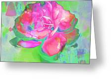 Pink Abstract Greeting Card by Cathie Tyler