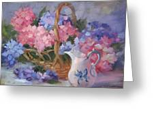 Pink And Blue Hydrangeas Greeting Card