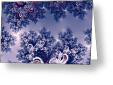 Pink And Blue Morning Frost Fractal Greeting Card