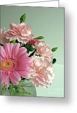 Pink And Green Floral Greeting Card