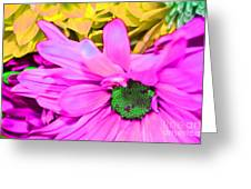 Pink And Green Flowers Greeting Card