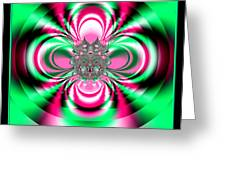 Pink And Green Rotating Flower Fractal 74  Greeting Card