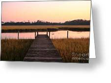 Pink And Orange Morning On The Marsh Greeting Card