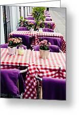 Pink And Purple Dining Greeting Card