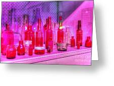 Pink And Red Bottles Greeting Card