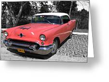 Pink And White Cuban Taxi Greeting Card