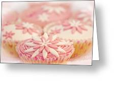 Pink And White Cup Cakes Greeting Card