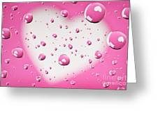 Pink And White Heart Reflections In Water Droplets Greeting Card