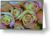 Pink And Yellow Roses Pop Art Greeting Card
