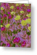 Pink And Yellow Tulips Pop Art Greeting Card