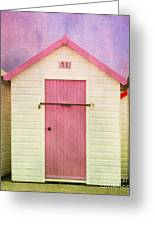 Pink Beach Hut Greeting Card