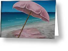 Pink Beach Umbrella Greeting Card