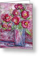 Pink Beauties In A Blue Crystal Vase Greeting Card