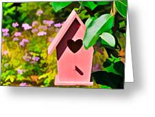 Pink Heart Birdhouse Greeting Card