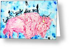 Pink Bison And Black Cats Greeting Card