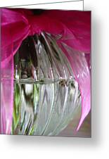Pink Bowed Glass Greeting Card