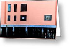 Pink Building On The Wharf Greeting Card