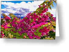 Pink Bush Greeting Card by Lisa Cortez