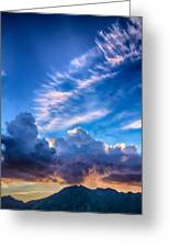 Pink Cloud Trails Over Mount Olympus Greeting Card