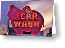 Pink Elephant Car Wash Greeting Card